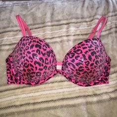 Victoria Secret push up bra Pink and black leopard print push up bra from Victoria Secret. Lightly worn. 36C. PINK Victoria's Secret Intimates & Sleepwear Bras