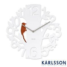 Present Time Karlsson Woodpecker Wall Clock, White: Home & Kitchen White Clocks, Cool Clocks, Red Candy, Dot And Bo, Decoration, Modern Decor, Modern Wall, Home Accessories, Home Goods