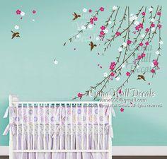 baby girl flower wall decal Nursery wall decal and birds by cuma