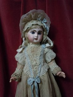 Gorgeous Antique Brass tone Dress Bonnet for french Bebe Jumeau Steiner doll
