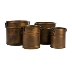IMAX 441354 Tauba Round Copper Finish Planter with Iron Handles Set of 4 ** Check out the image by visiting the link.