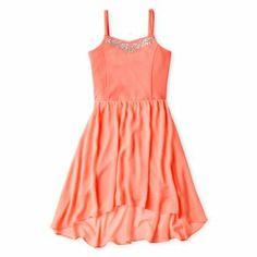 Sally M™ Sally Miller Rhinestone-Accent Dress - Girls 6-16 size 10-12 coral essence $33