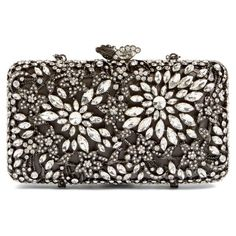 Women's Glint Crystal Floral Minaudiere ($299) ❤ liked on Polyvore featuring bags, handbags, clutches, gunmetal, evening handbags, crystal purse, crystal minaudiere, cocktail purse and special occasion handbags