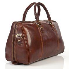 Alberto Bellucci Italian Leather Perugia Duffel Bag in Color Brown