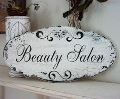 LAUNDRY / TEA Room / BEAUTY Salon Shabby Cottage Vintage Style Signs 14 x 7. $34.95, via Etsy.