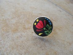 Hungarian Matyó patterned polymer clay ring by Lorelaishop on Etsy, $8.99