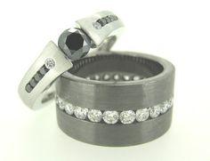 MDTdesign C910 tension set black diamond and C404 black gold channel set ring www.mdtdesign.com.au