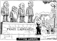 Zapiro - 4 Nobel Peace Prize Laureates and 1 Piss Laureate published in Mail & Guardian on 2 Oct 2014 Nobel Peace Prize, Nelson Mandela, Pissed, History, My Love, Cartoons, Memes, Funny, South Africa