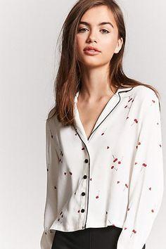 Contrast Cherry Print Shirt