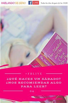 """#FBLive 6 ¿Qué haces un sábado? ¿Nos recomiendas algo para leer? #LibrosRecomendados - Todo, menos marear de Sergio Melich lo puedes conseguir en Ebook: http://amzn.to/2DAqno1 o en tapa blanda: http://amzn.to/2pjwybQ y la novela """"Una apuesta indecente"""" de Emma Wildes - http://amzn.to/2DAZmk9 ¿Cuál nos recomiendas tú? #Sexualidad #HablandoDeSexo #CharlasEnVivo"""