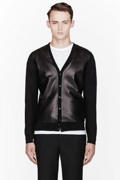 DSQUARED2 Black Leather-Trimmed Cardigan
