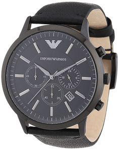 Montre Homme Emporio Armani - Quartz Chronographe - Cadran Acier inoxydable Noir - Bracelet Cuir Noir - Jour et Date