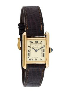 ae24e24ea5f Ladies  18K yellow gold plated sterling silver Cartier Tank Must de Cartier  Watch with smooth