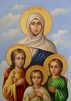 Today the Orthodox Church (new calendar) commemorates the Holy Martyrs Saint Sophia and her Daughters Faith, Hope and Love! May the Saints interced for us to the Lord! Religious Images, Religious Icons, Religious Art, Russian Icons, Russian Art, Our Lady Of Lourdes, Byzantine Icons, Holy Mary, Angel Pictures