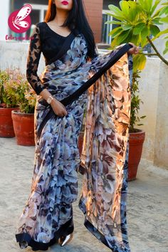 Half Saree Designs, Silk Saree Blouse Designs, Fancy Blouse Designs, Designs For Dresses, Fancy Sarees Party Wear, Saree Designs Party Wear, Chiffon Saree Party Wear, Party Sarees, Saree Wearing Styles
