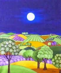 La Provenza de noche by Ana Sánchez Marín --- A simple picture, but I found it soothing and felt the pattern of fields would work well for a puzzle. Landscape Art, Landscape Paintings, Tuscany Landscape, Art Atelier, Naive Art, Whimsical Art, Painting Inspiration, Folk Art, Art Projects