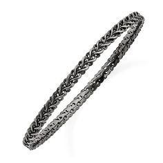 Sterling Silver Stackable Expressions Black-Plated Carved Slip-On Bangle