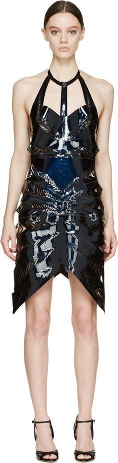 Iris van Herpen Navy Laser-Cut Echo Dress