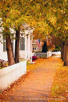 Autumn sidewalk, Woodstock, Vermont, USA.  I walked down that street