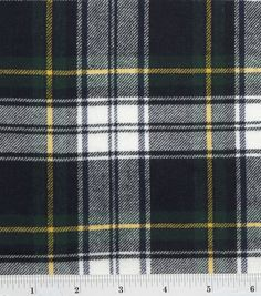 Flannel Shirting Fabric Navy Green