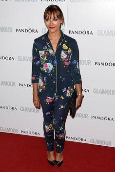 Rashida Jones rocked the anti-red carpet look. Printed pajama suit? Sure!