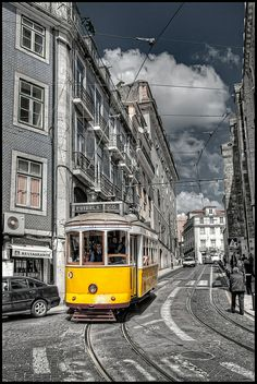 Color effect at its best in Lisboa, Portugal. Lisbon Tram, Red Filter, Tramway, Bonde, Mysterious Places, Color Effect, Black And White Pictures, Mellow Yellow, Beautiful Places