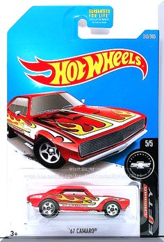 Red, w/Black interior, Clear windows, Black, White and Yellow Flames on the Hood and Sides, '67 CAMARO' on sides, Small Black 'Hot Wheels' logo on rear fender, Chrome Malaysia base, w/Chr5SP's. Only $4.00 + shipping.