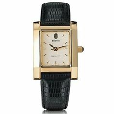 """Brown University Women's Swiss Watch - Gold Quad Watch with Leather Strap by M.LaHart & Co.. $299.00. Classic American style by M.LaHart. Three-year warranty.. Officially licensed by Brown University. Attractive M.LaHart & Co. gift box.. Swiss-made quartz movement with 7 jewels.. Brown University women's gold watch featuring Brown seal at 12 o'clock and """"Brown"""" inscribed below on cream dial. Swiss-made quartz movement with 7 jewels. Cream dial with hand-applied, faceted marke..."""