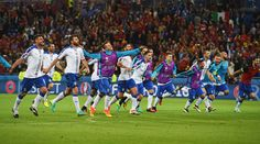 Italy players celebrate their 2-0 win in the UEFA EURO 2016 Group E match between Belgium and Italy at Stade des Lumieres on June 13, 2016 in Lyon, France.