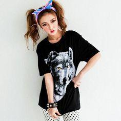 CliPick 的CUZIO 的狼圖案搖滾龐克風短袖棉質T恤 狼:http://www.clipick.com/item?sid=114933