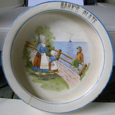 Antique Dutch Baby's Plate Dish Curved Inside Rim | eBay Baby Plates, Baby Dishes, Antique China, China Dinnerware, Vintage Children, Baby Things, Holland, Dutch, Bowls