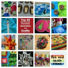 Top 25 Ultimate Christmas Kid-Friendly Craft and Winter Craft Round-Up: Favorite Christmas Crafts and Activities from Pink and Green Mama Blog
