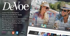 DeVoe is the complete solution for any Fashion or Entertainment site, with a focus on reducing bounce rates by providing endless content options.  Buy Now : http://themeforest.net/item/devoe-fashion-entertainment-news-theme/11228746?ref=graphicon