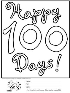 100th Day Of School Printable Coloring Pages Cooloring 100 Days Dw3