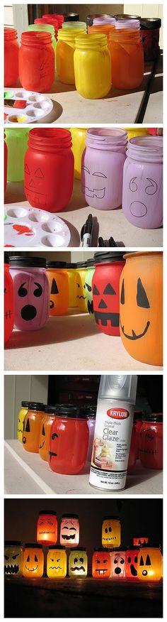 joybobo: Halloween Painted Jar Luminaries