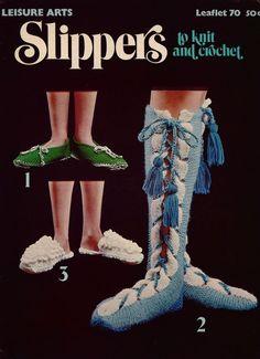 Vintage Knitting Crochet Patterns Slippers Scuffs Boudoir Daisy Women 1976  #LeisureArts #VintagePatternLeaflet