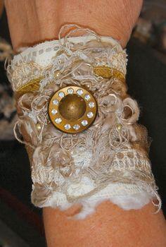 Tattered Lace Bracelet Hand Stitched Cuff