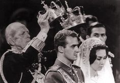 King Juan Carlos and Queen Sofia of Spain (behind him, his father, Infante don Juan; by her, her brother Constantine, the Crown Prince of Greece)