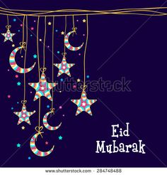 Muslim community festival, Eid Mubarak celebration greeting card decorated with colorful moons and stars hanging on blue background. Feliz Eid Mubarak, Eid Mubarak Pic, Eid Mubarak Quotes, Eid Mubarak Images, Happy Eid Mubarak, Eid Mubark, Eid Al Adha, Eid Card Designs, Eid Images