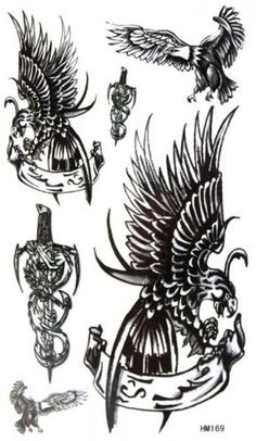 """Tattoo size 6.69""""x3.94"""" Non-toxic and waterproof and sweat of the black eagle with sword pattern realistic temporary tattoo sticker. Safe and non-toxic design ideal for body art. Professional grade made to last 3 to 5 days and easily transferred by water. Perfect for vacations, girls night, pool parties, bachelorette parties, or any other event you want to look glamorous."""