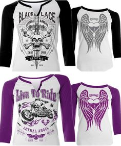Ready for some new fall riding clothes? 🍂Add these fierce raglan sleeve shirts to your closet!  Link in Bio ☠ 💕 #Lethalangel #lethalangelbrand #livetoride #bikelife #bikergirl #raglanshirt #raglansleeve #angelwings