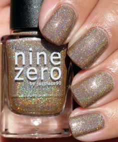 Nine Zero Lacquer October 2016 Polish of the Month + Halloween 2016 Collection Swatches & Review | KellieGonzo | Bloglovin' / October 2016 is a light nudey brown linear holographic with added holographic silver microglitter