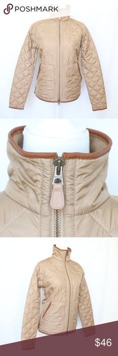 """Ralph Lauren Tan Brown Quilted Full Zip Jacket M Ralph Lauren Women's Tan Brown Quilted Full Zip Jacket  Fleece Lined 100% Polyester Medium  Measurements taken with garment flat on table. Armpit to armpit: 20"""" Sleeves: 30"""" Length: 25"""" Ralph Lauren Jackets & Coats Puffers"""