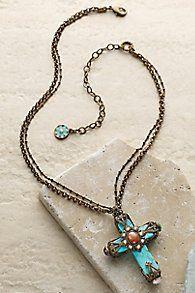 Southwestern Turquoise Cross Necklace