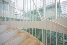 Carina store by Kazuyo Sejima, Tokyo, Japan Interior Stairs, Retail Interior, Aesop Store, Ryue Nishizawa, Stairs And Staircase, Staircases, City Drawing, Metal Curtain, Glass Facades
