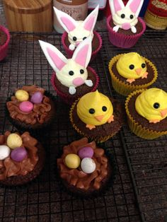 Easter cupcakes, all with a chocolate egg baked inside