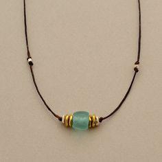 Recycled Aqua Glass Barrel Linen Necklace by Elizabeth Plumb Jewelry
