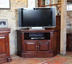 Rocha Dark Mahogany Furniture Corner Tv Dvd Unit Stand