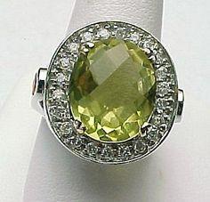 14K White Gold Faceted 4.20 Carat Lemon Quartz, White Sapphire & Fire Opal Ring