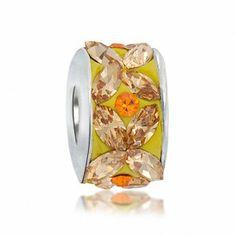 Marquise Flower Citrine Color Swarovski Crystal Bead Fits Pandora